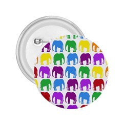 Rainbow Colors Bright Colorful Elephants Wallpaper Background 2.25  Buttons