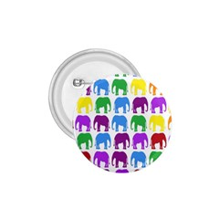 Rainbow Colors Bright Colorful Elephants Wallpaper Background 1.75  Buttons
