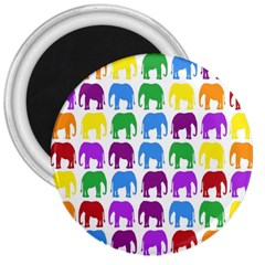 Rainbow Colors Bright Colorful Elephants Wallpaper Background 3  Magnets