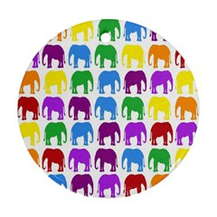 Rainbow Colors Bright Colorful Elephants Wallpaper Background Ornament (round)