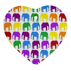 Rainbow Colors Bright Colorful Elephants Wallpaper Background Ornament (heart)