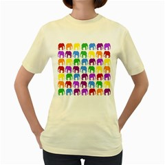Rainbow Colors Bright Colorful Elephants Wallpaper Background Women s Yellow T Shirt