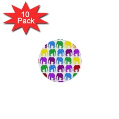 Rainbow Colors Bright Colorful Elephants Wallpaper Background 1  Mini Buttons (10 Pack)