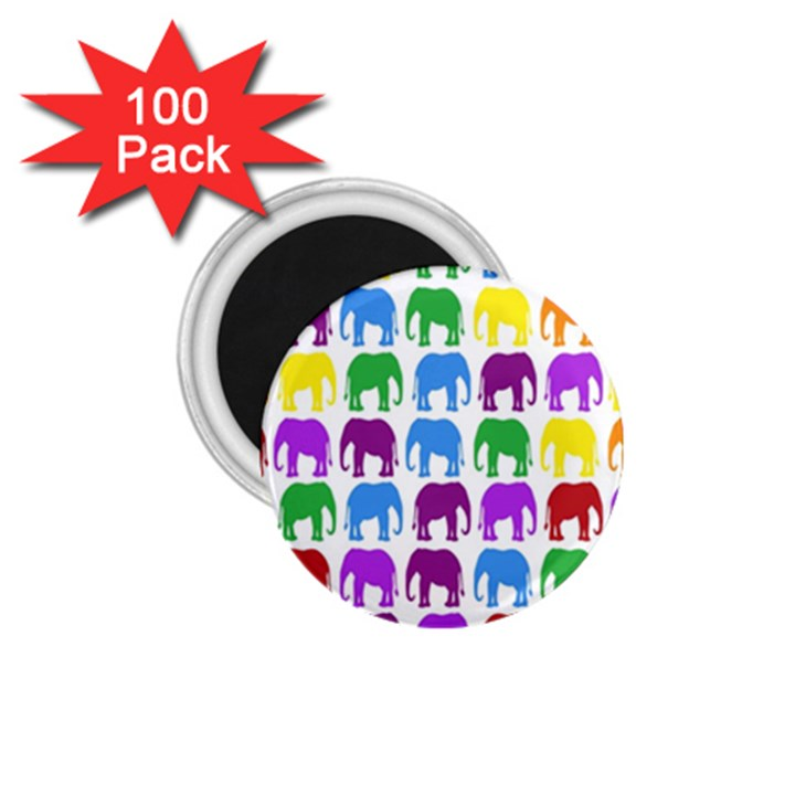 Rainbow Colors Bright Colorful Elephants Wallpaper Background 1.75  Magnets (100 pack)