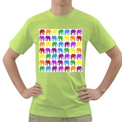 Rainbow Colors Bright Colorful Elephants Wallpaper Background Green T-Shirt
