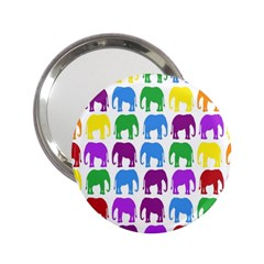 Rainbow Colors Bright Colorful Elephants Wallpaper Background 2.25  Handbag Mirrors
