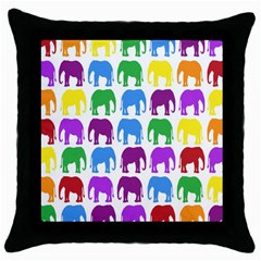 Rainbow Colors Bright Colorful Elephants Wallpaper Background Throw Pillow Case (black)