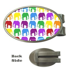Rainbow Colors Bright Colorful Elephants Wallpaper Background Money Clips (Oval)
