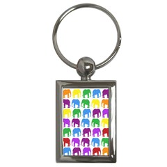 Rainbow Colors Bright Colorful Elephants Wallpaper Background Key Chains (Rectangle)