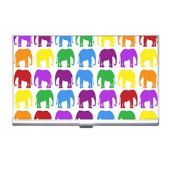 Rainbow Colors Bright Colorful Elephants Wallpaper Background Business Card Holders
