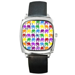 Rainbow Colors Bright Colorful Elephants Wallpaper Background Square Metal Watch