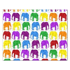 Rainbow Colors Bright Colorful Elephants Wallpaper Background Rectangular Jigsaw Puzzl