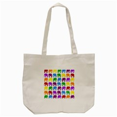 Rainbow Colors Bright Colorful Elephants Wallpaper Background Tote Bag (cream)