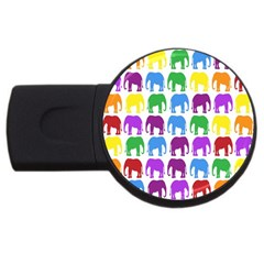 Rainbow Colors Bright Colorful Elephants Wallpaper Background Usb Flash Drive Round (4 Gb)