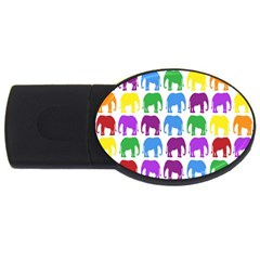 Rainbow Colors Bright Colorful Elephants Wallpaper Background Usb Flash Drive Oval (4 Gb)