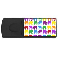 Rainbow Colors Bright Colorful Elephants Wallpaper Background Usb Flash Drive Rectangular (4 Gb)
