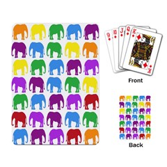 Rainbow Colors Bright Colorful Elephants Wallpaper Background Playing Card