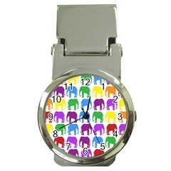 Rainbow Colors Bright Colorful Elephants Wallpaper Background Money Clip Watches