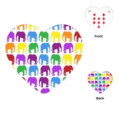 Rainbow Colors Bright Colorful Elephants Wallpaper Background Playing Cards (Heart)
