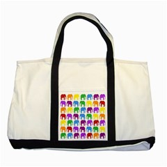 Rainbow Colors Bright Colorful Elephants Wallpaper Background Two Tone Tote Bag