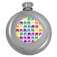 Rainbow Colors Bright Colorful Elephants Wallpaper Background Round Hip Flask (5 Oz)