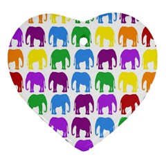 Rainbow Colors Bright Colorful Elephants Wallpaper Background Heart Ornament (two Sides)