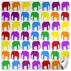 Rainbow Colors Bright Colorful Elephants Wallpaper Background Canvas 12  x 12