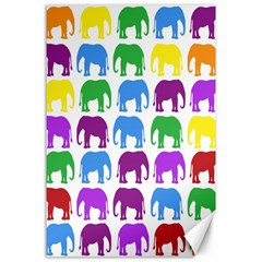 Rainbow Colors Bright Colorful Elephants Wallpaper Background Canvas 24  x 36