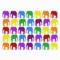 Rainbow Colors Bright Colorful Elephants Wallpaper Background Large Glasses Cloth (2 Side)