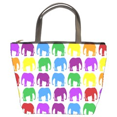 Rainbow Colors Bright Colorful Elephants Wallpaper Background Bucket Bags