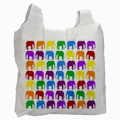 Rainbow Colors Bright Colorful Elephants Wallpaper Background Recycle Bag (two Side)