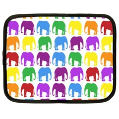 Rainbow Colors Bright Colorful Elephants Wallpaper Background Netbook Case (XXL)