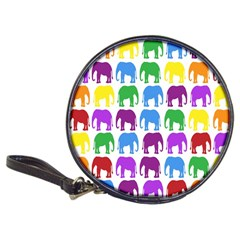 Rainbow Colors Bright Colorful Elephants Wallpaper Background Classic 20-CD Wallets