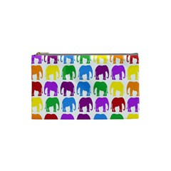 Rainbow Colors Bright Colorful Elephants Wallpaper Background Cosmetic Bag (small)