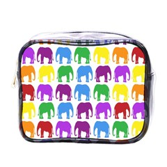 Rainbow Colors Bright Colorful Elephants Wallpaper Background Mini Toiletries Bags
