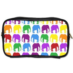 Rainbow Colors Bright Colorful Elephants Wallpaper Background Toiletries Bags