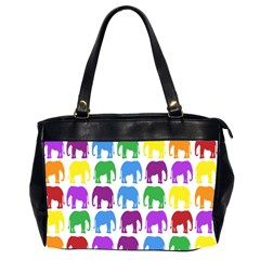 Rainbow Colors Bright Colorful Elephants Wallpaper Background Office Handbags (2 Sides)