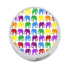 Rainbow Colors Bright Colorful Elephants Wallpaper Background 4-Port USB Hub (Two Sides)