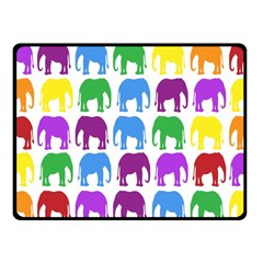 Rainbow Colors Bright Colorful Elephants Wallpaper Background Fleece Blanket (Small)