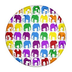 Rainbow Colors Bright Colorful Elephants Wallpaper Background Ornament (round Filigree)