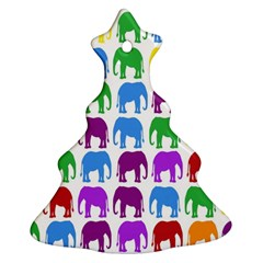Rainbow Colors Bright Colorful Elephants Wallpaper Background Ornament (Christmas Tree)