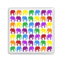 Rainbow Colors Bright Colorful Elephants Wallpaper Background Memory Card Reader (square)