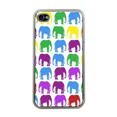 Rainbow Colors Bright Colorful Elephants Wallpaper Background Apple iPhone 4 Case (Clear)