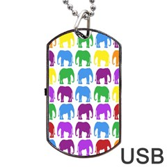 Rainbow Colors Bright Colorful Elephants Wallpaper Background Dog Tag USB Flash (One Side)