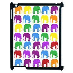 Rainbow Colors Bright Colorful Elephants Wallpaper Background Apple Ipad 2 Case (black)