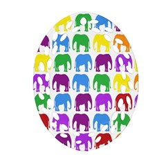 Rainbow Colors Bright Colorful Elephants Wallpaper Background Oval Filigree Ornament (Two Sides)