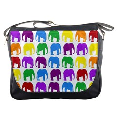 Rainbow Colors Bright Colorful Elephants Wallpaper Background Messenger Bags