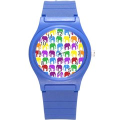 Rainbow Colors Bright Colorful Elephants Wallpaper Background Round Plastic Sport Watch (S)