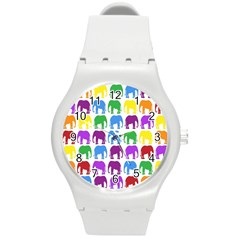 Rainbow Colors Bright Colorful Elephants Wallpaper Background Round Plastic Sport Watch (M)