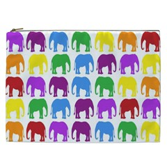 Rainbow Colors Bright Colorful Elephants Wallpaper Background Cosmetic Bag (xxl)